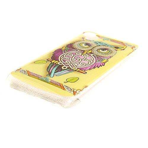 Wiko Sunny hülle,MCHSHOP Ultra Slim Skin Gel TPU hülle weiche Silicone Silikon Schutzhülle Case für Wiko Sunny - 1 Kostenlose Stylus (Weiße große Blume) Bunte Eule