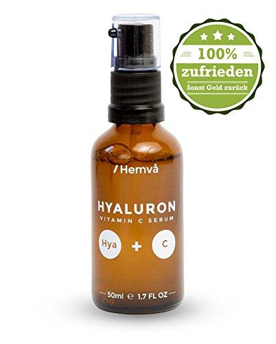Vitamin C Serum mit Hyaluronsäure von Hemvå (hochdosiert, 50ml) - Speziell für Frauen - Gegen Falten Serum für das Gesicht, Hals & Dekolleté - #1 Anti Age Gel, auch gegen Altersflecken - 100% Geld zurück Garantie