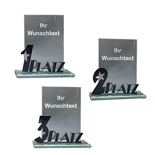 RaRu 3 Glas-Pokale mit Acryl-Schriftzug (1 2 3 Platz) und mit Ihrer Wunschgravur
