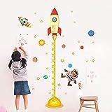 Adesivo Murale Di Misurazione Dell'Altezza,Astronauta Monkey Poster Sistema Solare Spostare In Altezza Parete Misura Adesivi Per Camere Per Ragazzi Stelle Lo Spazio Esterno Sky Rocket Decalcomanie A