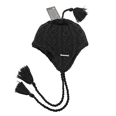 Kenmont warme Winter-Frauen-Mädchen-Dame Wolle Acryl Earflap Knit Beanie Hat Cap Ski (schwarz) (Earflap Knit Cap)