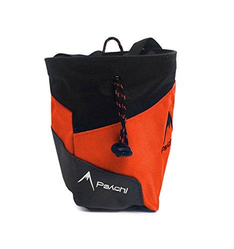 Bolsa de tiza Psychi Premium para escalada en roca con bolsillo trasero con cremallera y cinturón de cintura, naranja