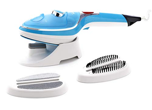 SAVVY Handheld Garment Steamer-Easy Steam Iron in Turquoise Blue & White Color, Iron Box for All Fabric Types,Ceramic Soleplate Pressing Machine, Portable & Extra Lightweight