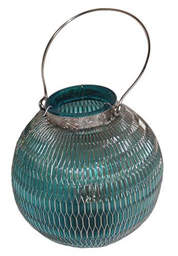 Kerze Lampe Olive (AAF Nommel®, Orientalische Tischlaterne aus Glas, metallumwoben, vernickelt, blau grün olive, 20 x 17 cm, Nr. 120)