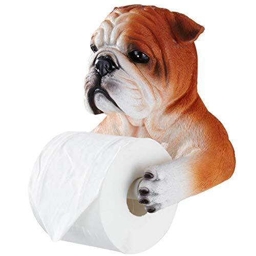 WEN PING Toilettenpapierhalter Toilettenpapierhalter Kreative Bulldogge Badezimmer Toilette Toilettenhygiene Tablett Freies Stanzen Hygienische Karton Tissue Box Papierrolle Rohr Rack (Color : A)