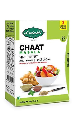 Lalah's Chaat Masala, Spice Mix to Flavour Indian Snacks and Savouries, Gluten Free, No Trans Fat, No Preservatives or Colours Added, No MSG, (2 x 50g aroma locked sachets), 100 grams (3.5 oz) - Fast Free Gluten Food