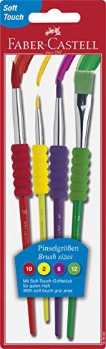 Faber-Castell 481600 Pinselset 4-teilig mit Softgriffstück (Mit Griff Papier-tasche)