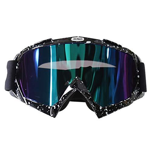 AmDxD PC Motorradbrillen Sportbrille für Motorrad Fahrrad Helmkompatible, Schwarz Weiß Bunt