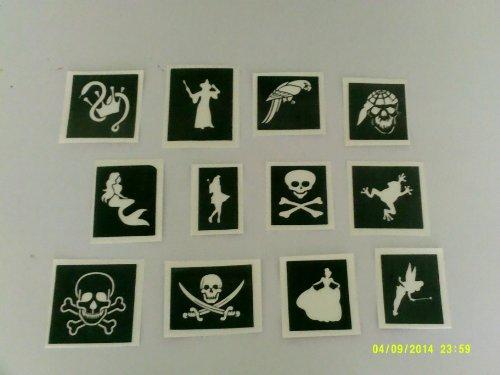 Pirat Themen Schablonen (gemischt) für Glitzer Tattoos / Gesicht malen Piraten Schiff Papagei Königin Krone ()