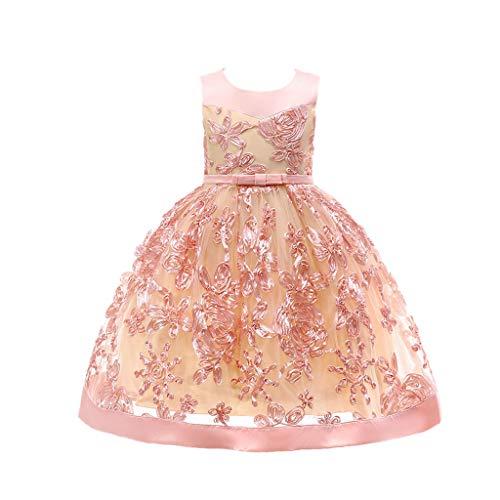 YWLINK MäDchen Prinzessin ÄRmellos Hohe Taille Retro Brautjungfer Kleid Stickerei Party Hochzeit Kleiden Mit Bogen GüRtel Abendkleid Elegant ()