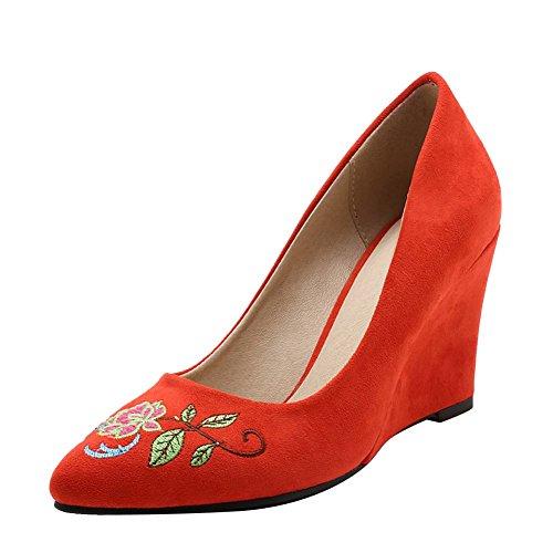 Mee Shoes Damen Keilabsatz Geschlossen Suede Pumps Rot