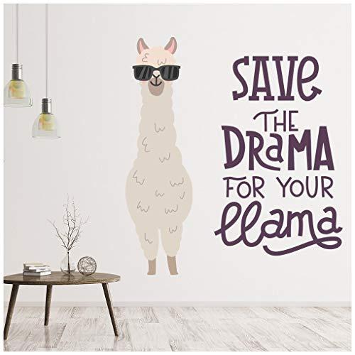 azutura Speichern Sie das Drama Lustiges Lama-Zitat Wandtattoo Erhältlich in 8 Größen Riesig Digital