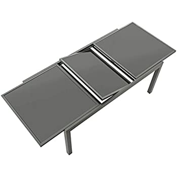 gartentisch ausziehbar aluminium glas grau l nge 120 180 x breite 90 cm gr e 120. Black Bedroom Furniture Sets. Home Design Ideas