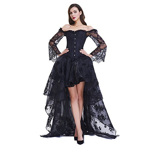 Damen Retro Vintage Gothic Steampunk Röcke titivate Chrismats Party High Low Rüschen Korsett Spitze Punk Kleid Cocktailrock Cosplay Kostüm Schulter Oberteil (XL, Schwarzes Steampunk Korsett + - Genial Steampunk Kostüm