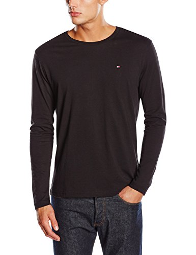 Tommy Hilfiger Herren T-Shirt Cotton cn tee ls icon Schwarz (BLACK 990)