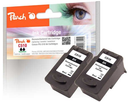 Peach Doppelpack Druckköpfe schwarz kompatibel zu Canon PG-510 - Canon-211 Drucker-tinten-patronen