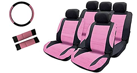 XtremeAuto® PINK / BLACK, Leather Look, Complete 9 Piece, Front + Rear Seat Cover Set with headrests.