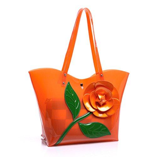 Sacchetto Di Spalla Trasparente Di Personalità Della Borsa Della Gelatina Di Modo Delle Signore Orange