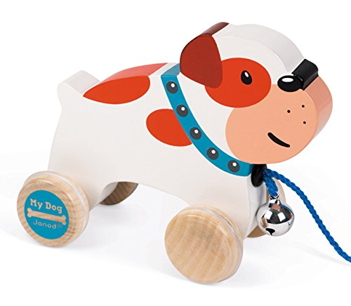 Janod - Holzspielzeug Nachziehtier Bulldogge Hund mit Glöckchen, 14,5 x 6,7 x 10,8 cm, Weiß