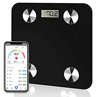 Futura Black Smart Precision Bluetooth Bathroom Scales iOS & Android, Weighing Scales, Body Fat Digital Scales, 28st/180kg/400lb Backlight Display, Slim Design, Elegant Black Measuring Tape Included