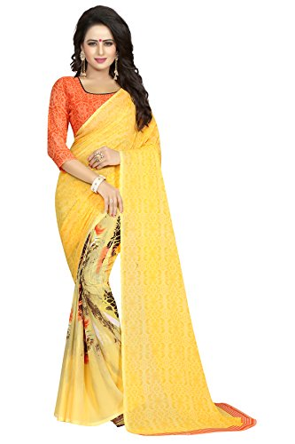 J B Fashion Women's Georgette Yellow Saree With Blouse Piece