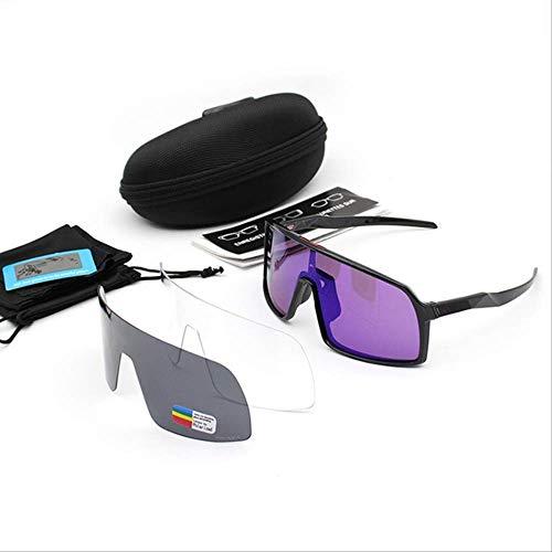 SMEI Sport Polarisierte Radbrille Radbrille Männer Frauen Fahrradbrille Uv400 Radfahren Sonnenbrille 3 Objektiv Sagan Schwarz LEN lila