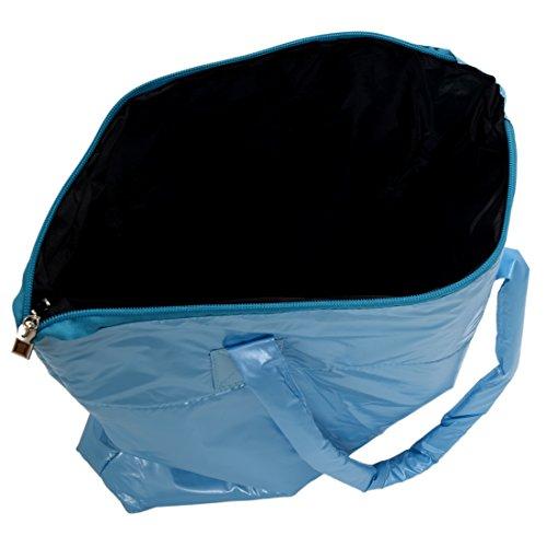 SODIAL(R) Caldo di vendita Prodotti semplice alla moda Pure spalle Colore Cotton Stripe Inverno della borsa-rosso Lago blu