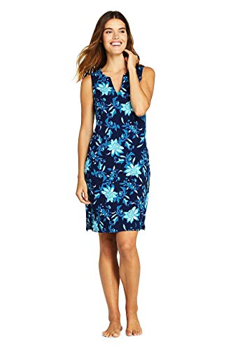 Lands End Floral Badeanzug (Lands' End Damen Tunika-Kleid aus Baumwolljersey, ärmellos - - Medium)