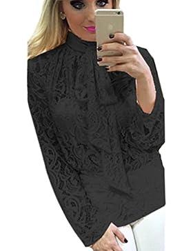 NiSeng Mujer Elegante Blusa Cordón Blusa Tops Imitación Camisas Larga Slim Fit Camisas Negocio Tops Shirts