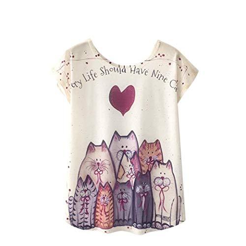 Luckycat Summer Frauen T-Shirt Harajuku Kawaii süße Art Schöne Katze T-Shirt mit Druck Tops mit kurzen Ärmeln Größe M l, XL Mode 2018