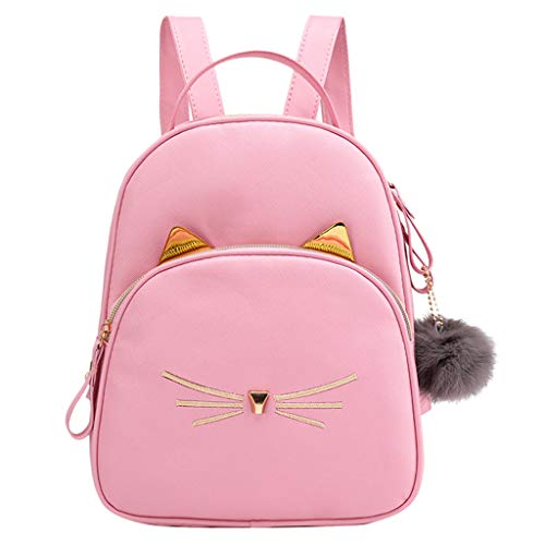 Damen PU Rucksack Handtasche Schultertasche Multifunktions Tasche Mode Studenten Haarball Rucksack Einfarbig Schultasche Rucksack süß Schultertasche Schule Teen Mädchen Handtaschen (Rosa, one size)