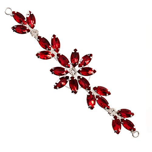 Weddecor 14cm x 4cm wunderschön Kristall Strassstein Diamant Motiv aufnäher Applikation für Braut Hochzeit, lässig oder formelle Bekleidung, Kopfschmuck Mode Verzierung - Rot, 14 x 4cm Mode-verzierungen