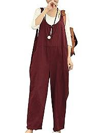 ZhuiKunA Petos para Mujeres Chicas Suelto Cómodo Tamaño Grande Pantalones Anchos Monos