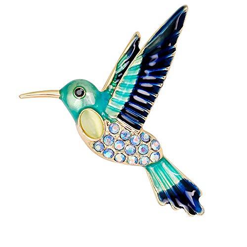 Yazilind Humming Vogel CZ entwickelt Brosche Clip Strass Brosche Hochzeit Prom Pin für Vintage Kleidung Dekoration Alloy Schmuck (blau)