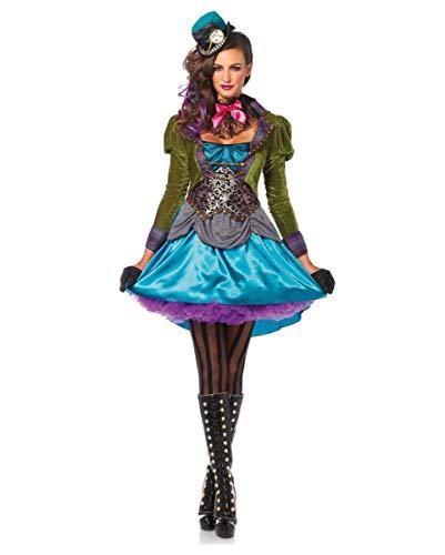 Horror-Shop 3-tlg. Mad Hatter verrückte Hutmacherin Kostüm für Damen S