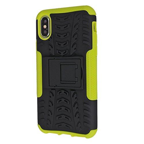 iPhone X Case Armor, iPhone 10 Hülle Armor mit Stand, iPhone X Hard Case, Moon mood® Reifen Striped Handy Fall 2 in 1 Hybrid Armor Schutzhülle für Apple iPhone X / iPhone 10 5.8 Zoll Hart PC + Weich T T Grün