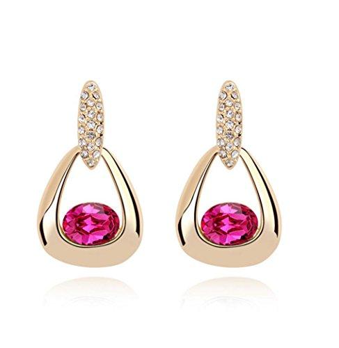Erica Plaqué or mousseux autrichien Boucles d'oreilles en cristal pour Femmes Filles rose red