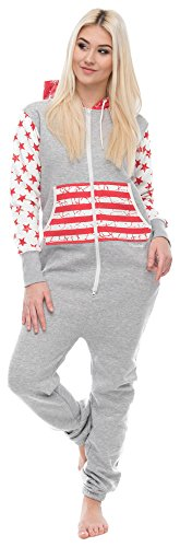 Loomiloo Jumpsuit Freizeitanzug Overall Hausanzug Einteiler Strampler Anzug Pyjama Sonntag (L, USA Hellgrau)