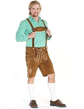 Herren Trachten Lederhose Seppl braun aus 100% Echtleder