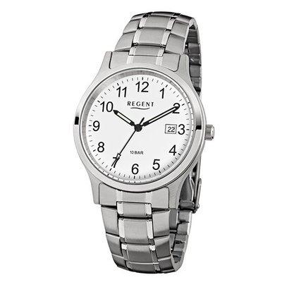 REGENT 11150562 - Reloj para hombres, correa de acero inoxidable color plateado