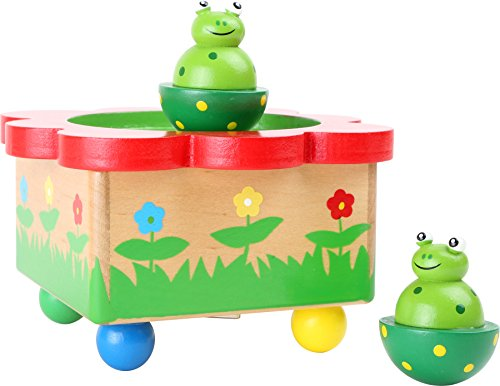 """Spieluhr """"Froschteich"""" / Babyspielzeug aus Holz, mit abnehmbaren, bunten Magnet-Figuren, tanzende Frösche und eine schöne Melodie verzaubern Babys und Kinder - 2"""
