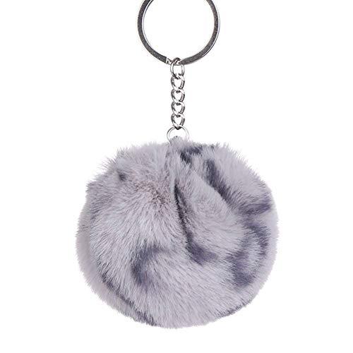 DCFVGB Schlüsselbund Faux Rabbit Schlüsselanhänger Ball Pompoms Leopard Ball Keychain Anhänger Leopard Print Bow Trinket -