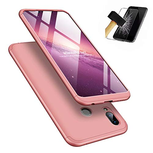 MISSDU kompatibel mit Premium Hart PC 360 Grad Hülle Huawei Honor Play Hülle + Panzerglas,3 in1 Handytasche Handyhülle Schutzhülle Cover - Roségold