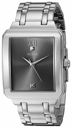 GUESS Men's U0917G2 Dressy Silver-Tone Watch with Plain Grey Dial  and Stainless Steel Deployment Buckle