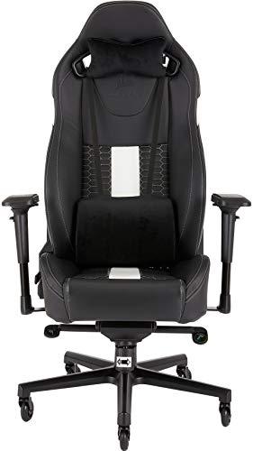 Corsair T2 Road Warrior - Silla de oficina, para videojuegos, Polipiel, fácil de ensamblar, giratoria ergonómica, altura ajustable y reposabrazos 4D, asiento ancho y cómodo con reclinador alto, Blanco