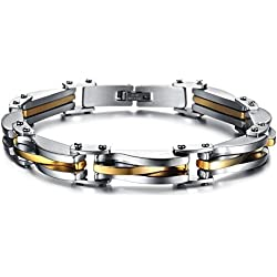 Yutii Cool Style Bracelet For Men And Boys with Gold and Silver Metal plated Man Chain