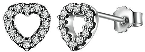 SaySure - 925 Sterling Silver Be My Valentine Heart Stud Earrings