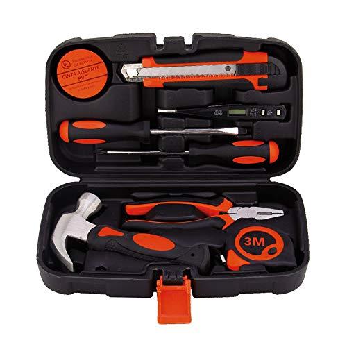 9Pcs Tools Set Basic Hand Carry Tool Box Kit Fix Repair Home Packaging