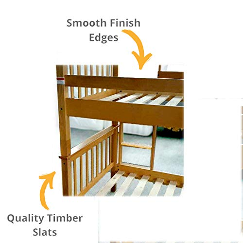 Bunk Bed High Sleeper Solid Rubber Wood 3ft Single Heavy Duty Split Into 2 Single Beds, Bunkbed For Kids, Children, Adults (Bedroom Furniture)