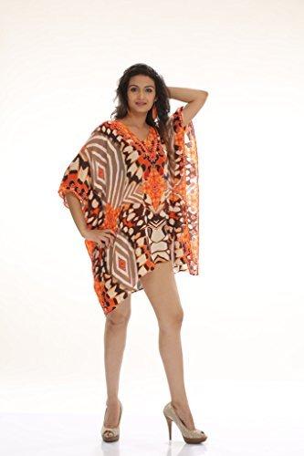 Da donna crespo stampato Turco kaftani caftano beachwear costumi da bagno del bikini Coprire Abito Spiaggia Mantello di D G PRINTS FAB (stile no. 0034)